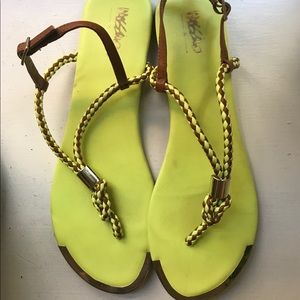 Sandals Neon and Gold Mossimo